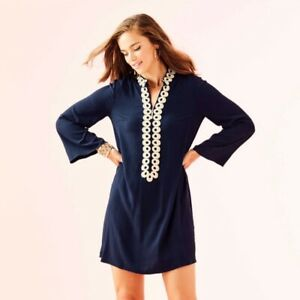 f3b54fb8896914 NWT Lilly Pulitzer Gracelynn Stretch Tunic Dress True Navy Gold Trim ...