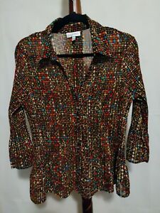 Fashion-Bug-women-039-s-size-XL-top-multicolor-print-3-4-sleeve-collar-button-up-EUC