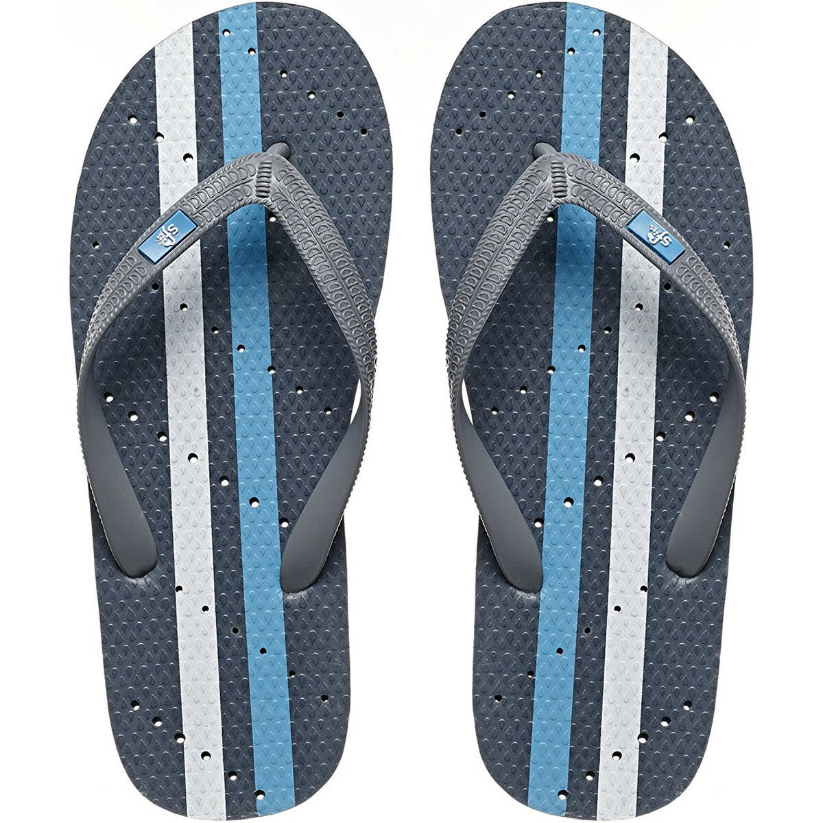 1e20068c000 Showaflops Antimicrobial Shower and and and Water Sandals -  Gray Turquoise White Stripe 296e18