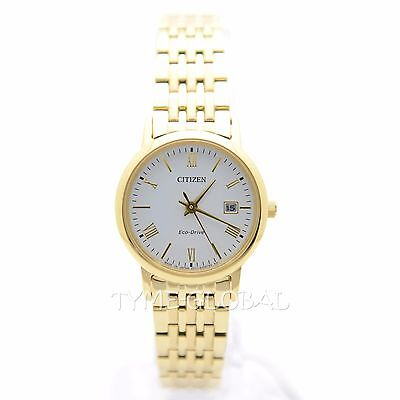 Citizen EW1582-54A Eco-Drive White Dial Date Gold Tone Stainless Steel Watch