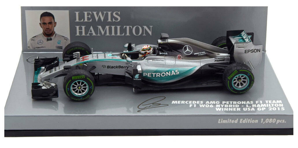 Minichamps Mercedes W06 Ganador GP 2015 USA-Lewis Hamilton Campeón del mundo 1 43