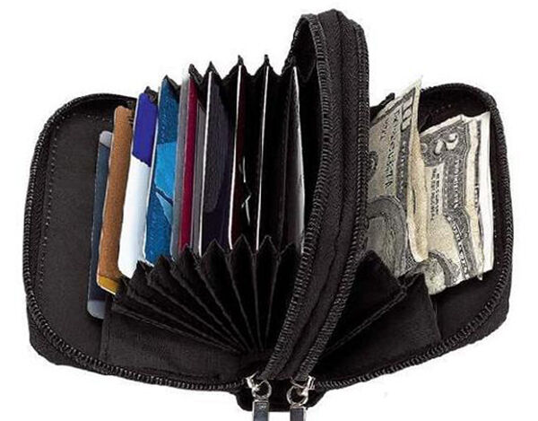 Black Leather Accordion Lady's Wallet ID Credit Card Case Holder Zip Around