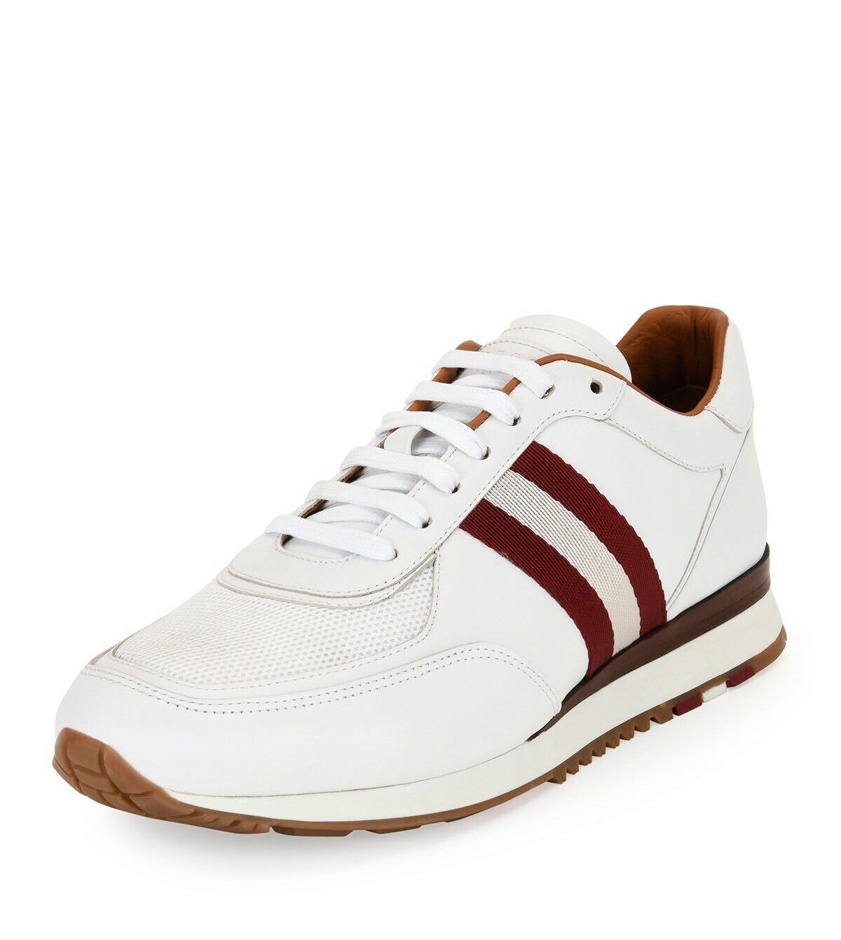 New In Box Bally Aston White Leather Striped Low-Top Trainer Sneakers 7EU/8US