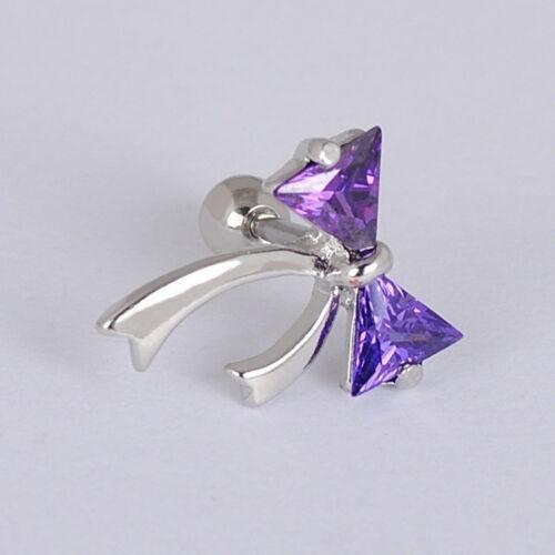 Silver Plated Bow CZ Ribbon Cartilage Tragus Bar Piercing Stud Ear Ring Studs