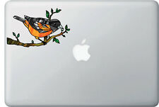 "CLR:MB - Oriole Bird - Stained Glass Vinyl Laptop Decal ©YYDC (6.25""w x 4."