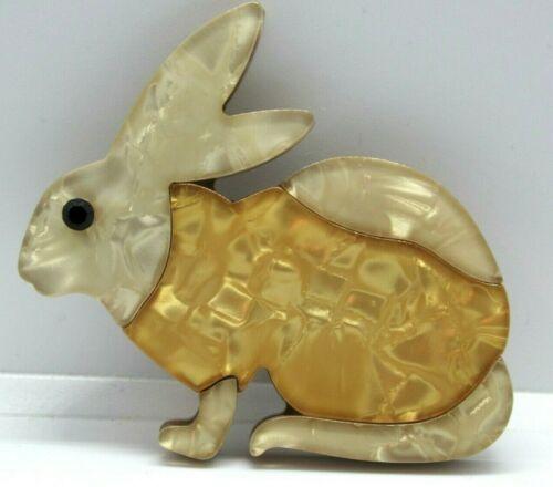 Antiguo Moderno 3D Broche hecho a mano Conejo resina acrílica blanco réplica de Baquelita