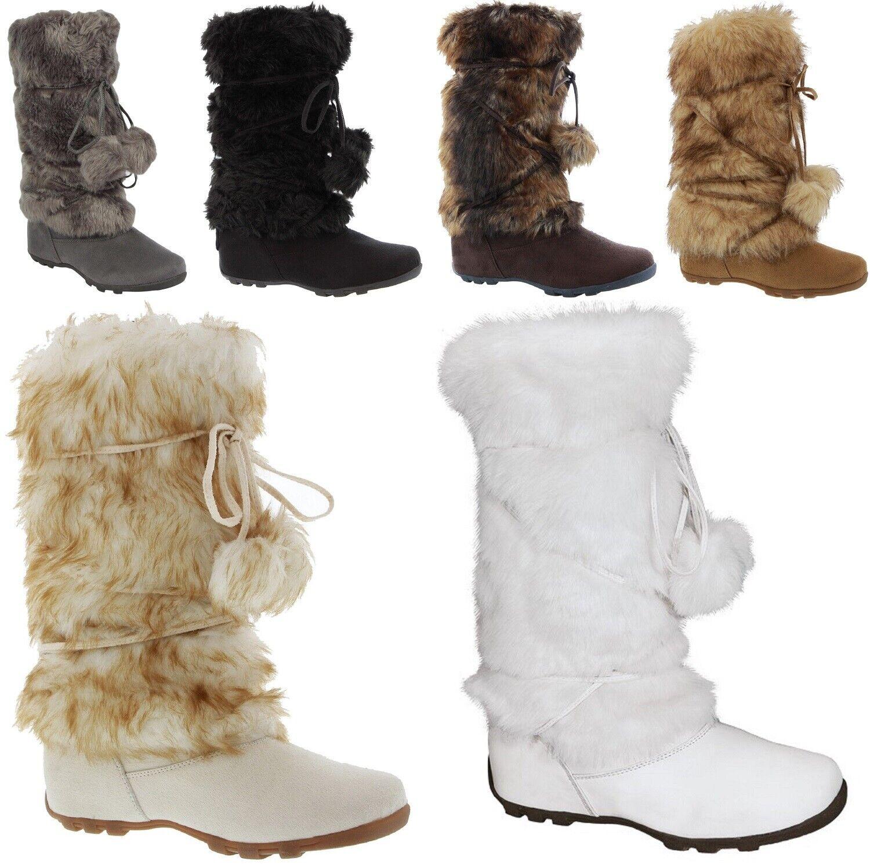 Talia-Hi Women Mukluk Faux Fur Boots Booties Mid Calf Winter Snow Warm Trendy