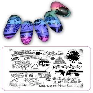 Detalles De Placas Para Uñas Stamping Placa Decoracion Navidad Bolas árbol De Imágenes Arco Md019 Ver Título Original