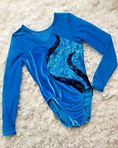 New-GK-ELITE-Gymnastics-LEOTARD-Blue-BLACK-Sheer-KEYHOLE-Competition-Sz-AS