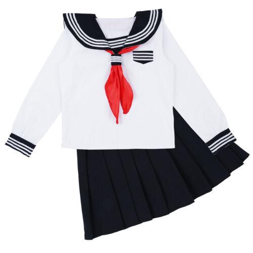 Women Girls Sailor School Uniform Dress Costume Long Sleeve Shirt Pleated Skirt