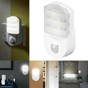 Plug-In-PIR-Motion-Sensor-Hallway-Socket-LED-Night-Light-Safety-Bedroom-Light-UK