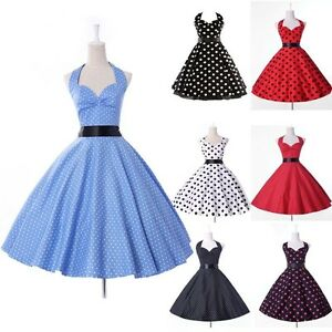 Vintage-50s-60s-Classic-Polka-Dot-Rockabilly-Swing-Prom-Cocktail-Dress-4-SIZE