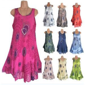 Women-Ladies-Boho-Sleeveless-Mini-Dress-Summer-Beach-Baggy-Tunic-Dress-Plus-Size