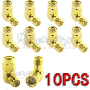 10PCS-RP-SMA-Female-to-SMA-Female-Right-Angle-90-Degree-Gold-Plated-Adapter