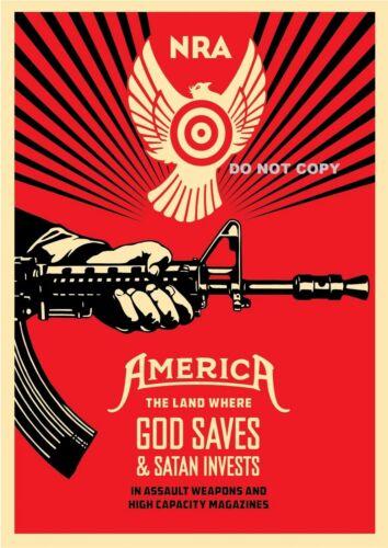 A4 GLOSSY PHOTO SHEPARD FAIREY USA NRA AMERICA WEAPONS GUNS PRINT POSTER #6