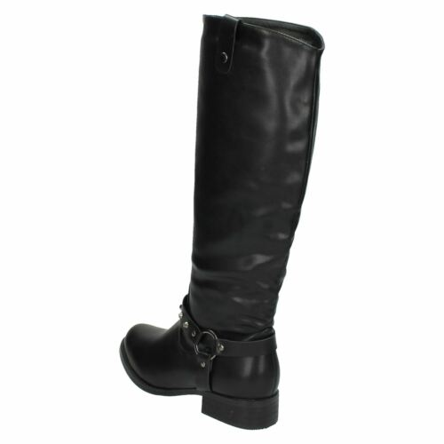 Details about  /F50092 WOMENS ZIP LOW HEEL BIKER SHOES LONG KNEE CASUAL RIDING BOOTS SPOT ON