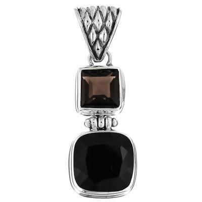 "1 11//16/"" GENUINE BLACK ONYX BRIOLETTE 925 STERLING SILVER pendant"