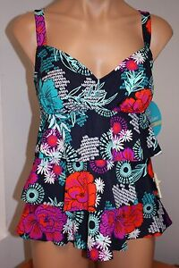NWT Swim Solutions Swimsuit Bikini Tankini 2 pc set Sz 8 NVY Ruffles