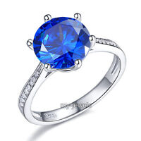 925 Sterling Silver Wedding Engagement Ring 3 Carat Blue Jewelry Ring Fr8211
