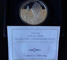 2010 plata prueba Chapado en Oro 5OZ Caja de Monedas cert. de autenticidad Papa Benedicto papal visita 1/250
