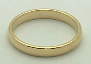 14K-Yellow-Gold-Women-039-s-3mm-Comfort-Fit-Plain-Wedding-Band-Ring-Size-5
