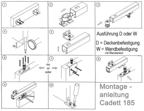 Schiebetürbeschlag CADETT 185A-1W mit Wandwinkel 185cm Mantion komplette Cadette