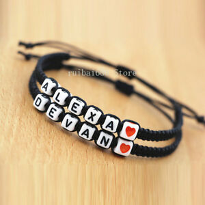 fd4e8db42414 Image is loading Name-Bracelet-Lovers-Jewellery-Couple-Bracelet -Valentine-Day-