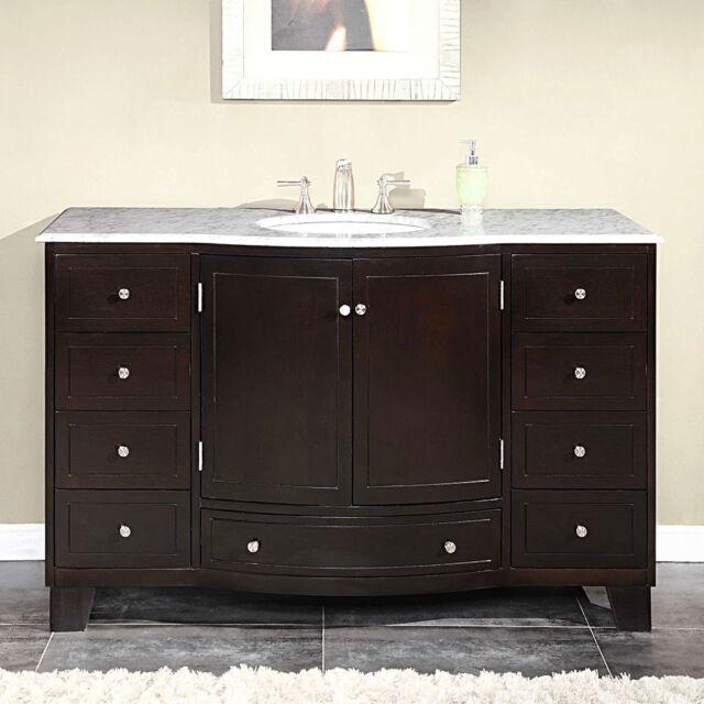 Buy 55 Inch White Marble Stone Countertop Bathroom Vanity Single