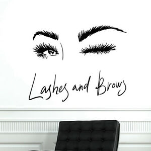 Eye Eyelashes Wall Decal Sticker Lashes Eyebrows Brows Beauty Salon