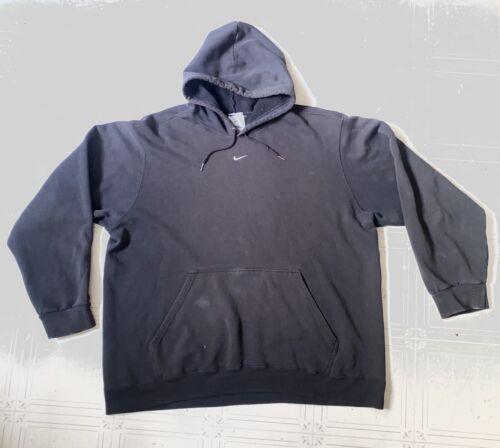 90s Nike XL Hoodie Black Center Swoosh Vintage VTG - image 1