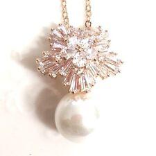"12mm White Akoya Pearl Diamond Women Wedding Gift Charm Pendant Necklace 18"" P32"