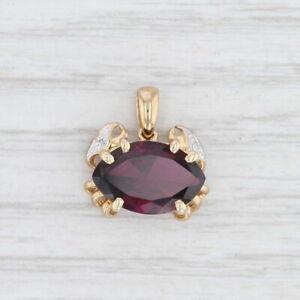 New-Garnet-Diamond-Crab-Pendant-10k-Yellow-Gold-Nautical-January-Birthstone