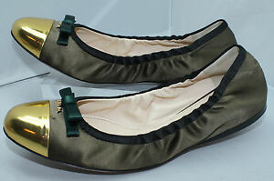 New Prada Women s Shoes Ballerina Flats Size 37.5 Green Gold Ballet ... 52571a6890