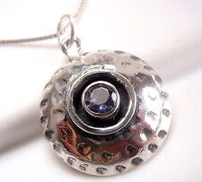 Faceted Iolite Hammered Necklace 925 Sterling Silver Round New