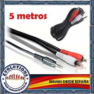 CABLE-AUDIO-ESTEREO-5M-5-METROS-MINI-JACK-3-5mm-MACHO-A-2-x-RCA-MACHO-NUEVO