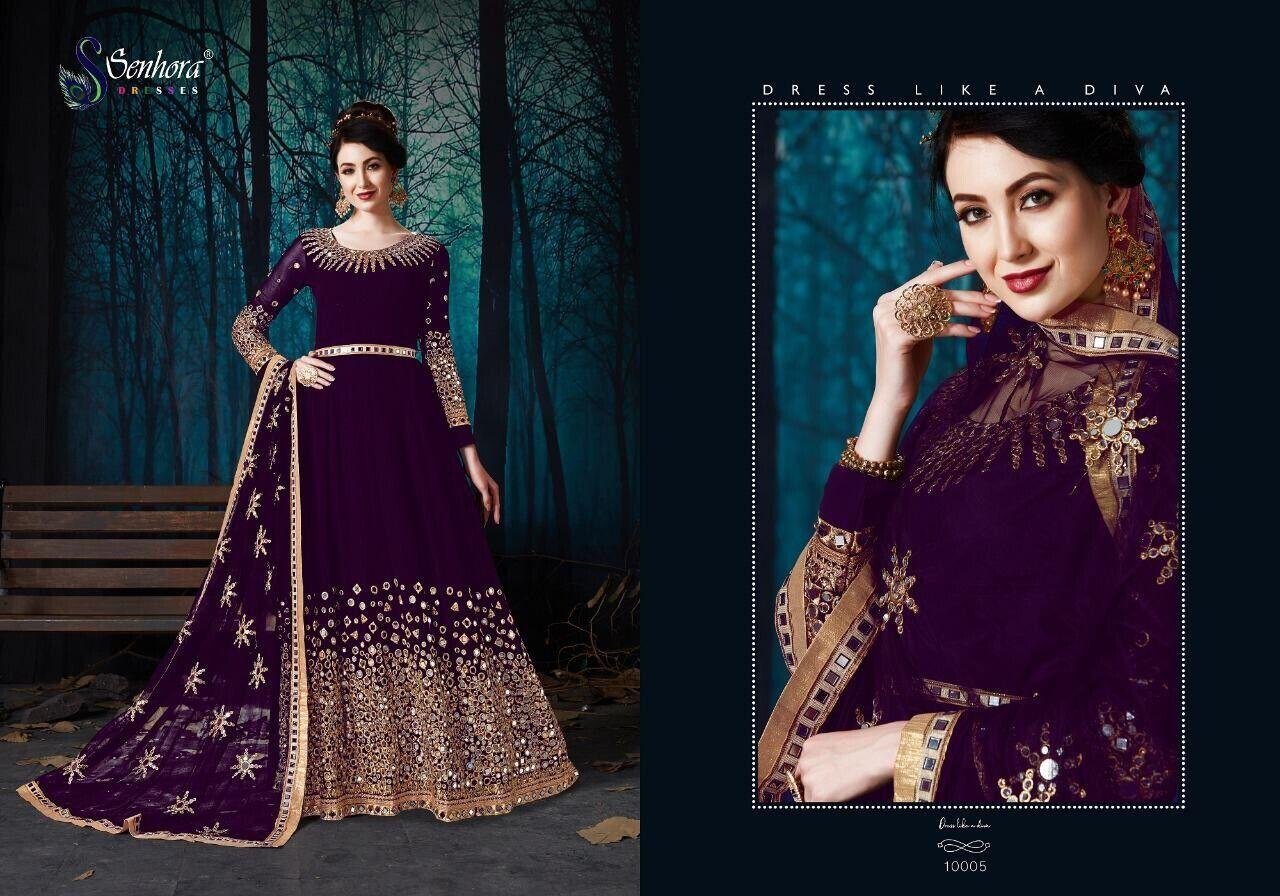 Mirror Embroidery Wedding Gown Salwar Kameez Indian Anarkali Ladies Suit Dress