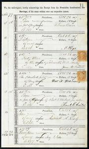 1867-Bank-ledger-page-with-R6c-revenue-stamps-handstamp-cancels-L11