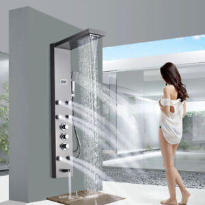 Thermostaic-Shower-Panel-Tower-Rain-amp-Waterfall-Massage-Body-System-Brushed-Nickel