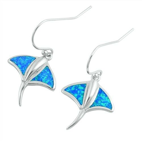 USA Seller Stingray Earrings Blue Lab Opal Sterling Silver 925 Price Jewelry