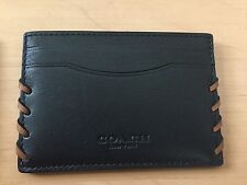 Coach Business Card Case Men and Women Black with Blue or brown