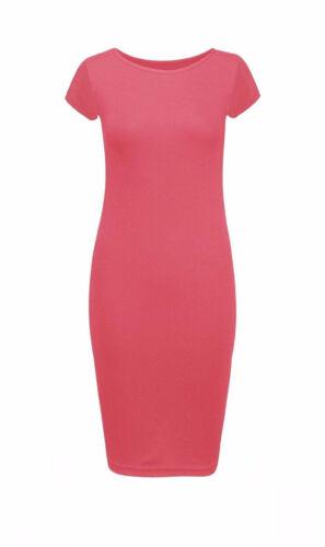 Mesdames Femmes Cap manches Midi Robe Moulante Uni Imprimé Jersey Dresses 8-14