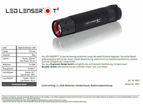 LED Lenser-zweibrüder lampe de poche lampe de t-série tt t2 ou t² qc sélection