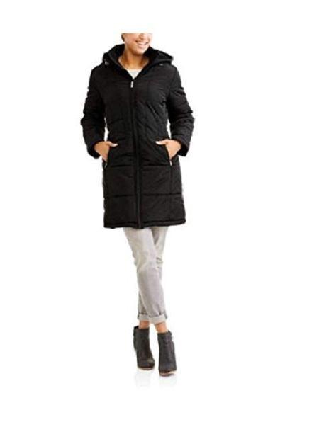 HARVE BENARD Femme Longue Zippée à Capuche Gilet Manteau Avec cintrée dos medium noir