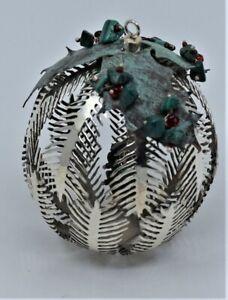 Mexico Sterling Silver Christmas Mistletoe Ornament Malachite by Emilia Castillo