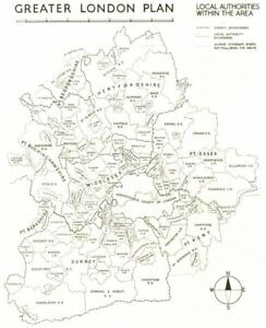 Map Of Greater London Area.Details About Greater London Plan Local Authorities Within The Area Abercrombie 1944 Map