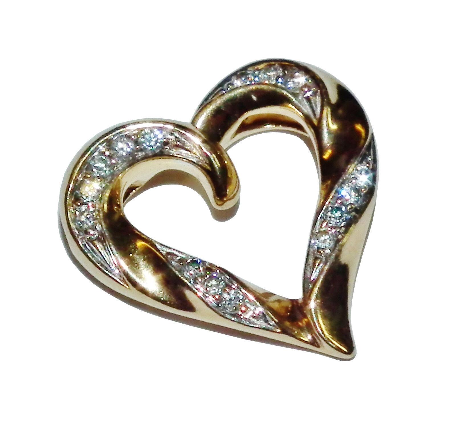 Fully Hallmarked 9ct Yellow gold & Diamond Heart Pendant