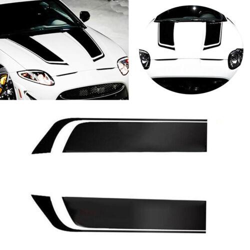 2pcs Racing Car Hood Stripe Decals Vinyl Bonnet Stickers Washable Exterior Parts