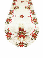 Fennco Styles Holiday Embroidered Christmas Design Cutwork Tablecloth Runner