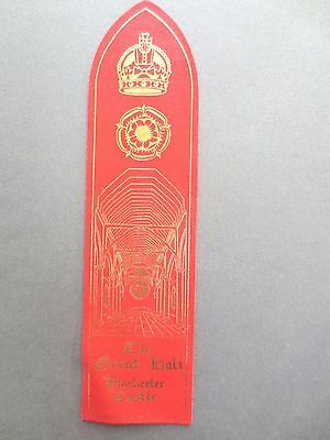 BOOKMARK LEATHER WINCHESTER CASTLE The Great Hall Tudor Rose Crown - Shaped RED