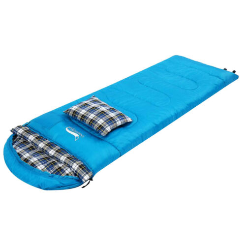 Cotton Splicing Sleeping Bag Outdoor Camping Hiking Travel with ow Blue